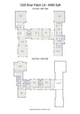 Project letterhead - 1225 Briar Patch LN - 6480 Sqft - 2D Floor Plan