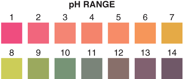 pH 1-14 test strips, pH test strips, broad-range pH test strips