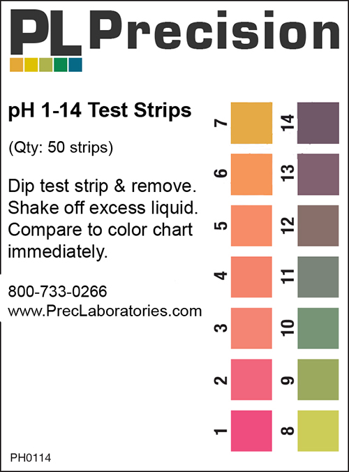 Ph 1-14 Test Strips (Single Pad) - Precision Laboratories