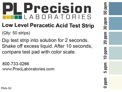 Low Level Peracetic Acid Test Strips, 50ppm