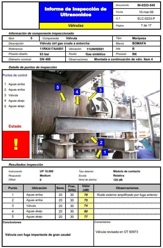 Ilustración 27. Informe de válvula con fugasIlustración