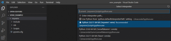 How to work with VS Code and Virtual Environments in Python 2