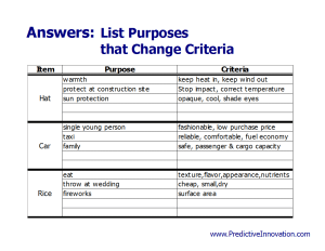 Purposes & Criteria Exercise Answers