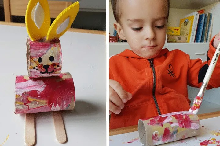 Indoor activities for kids: Toilet paper bunny craft.