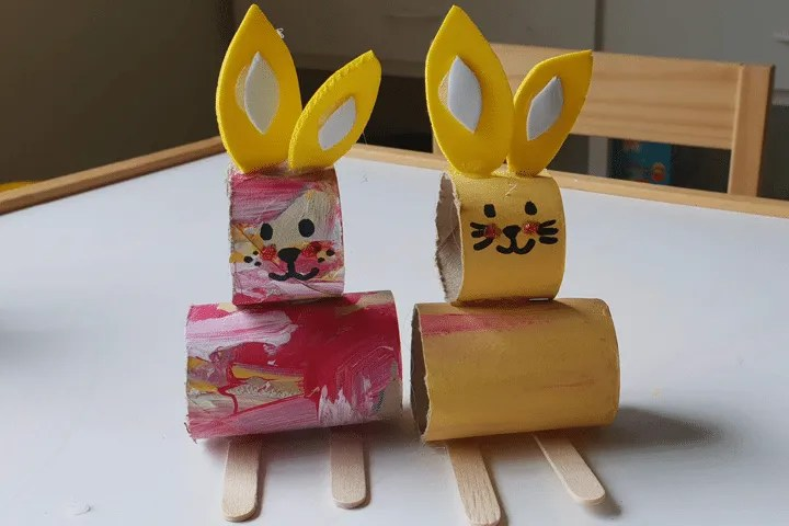 Toddler Crafts: Bunny Paper Roll Step 11