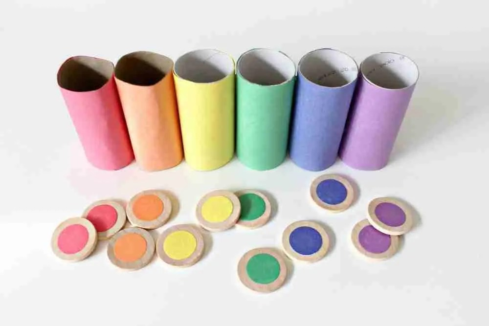 Toilet Paper Roll Craft for Kids: Raindow Color Sorting Game
