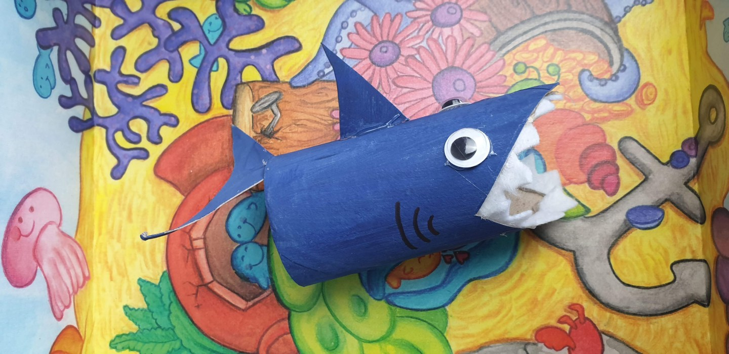 Easy toilet paper roll crafts for kids: Toilet Paper Roll Shark