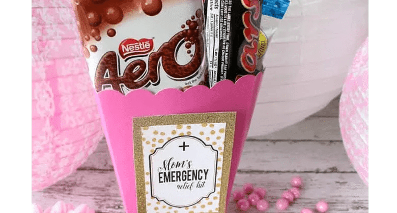 Mom's Emergency Relief Kit: Pamper your mom with this chocolate care kit that makes the perfect thorughtful gift for mother's day