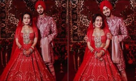 Neka Kakkar-Rohanpreet Singh look dreamy as they twin in red ensembles by Falguni Shane Peacock on wedding night