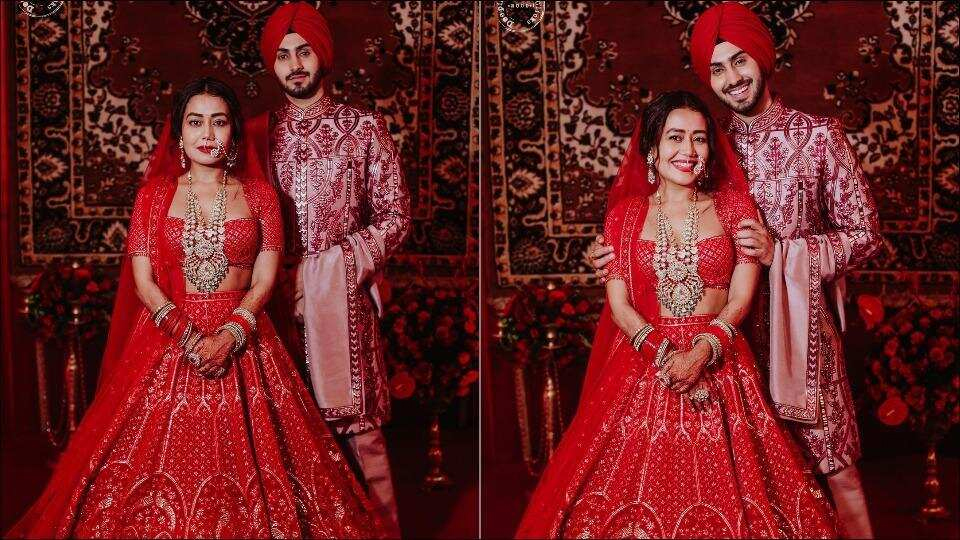 Neka Kakkar-Rohanpreet Singh look dreamy as they twin in red ensembles by Falguni Shane Peacock on wedding night