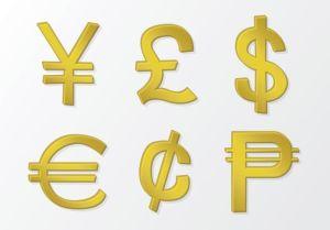 imágen de simbolos de monedas de distintos países