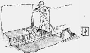imagen de vibrado de hormigón en cáliz de cimentación
