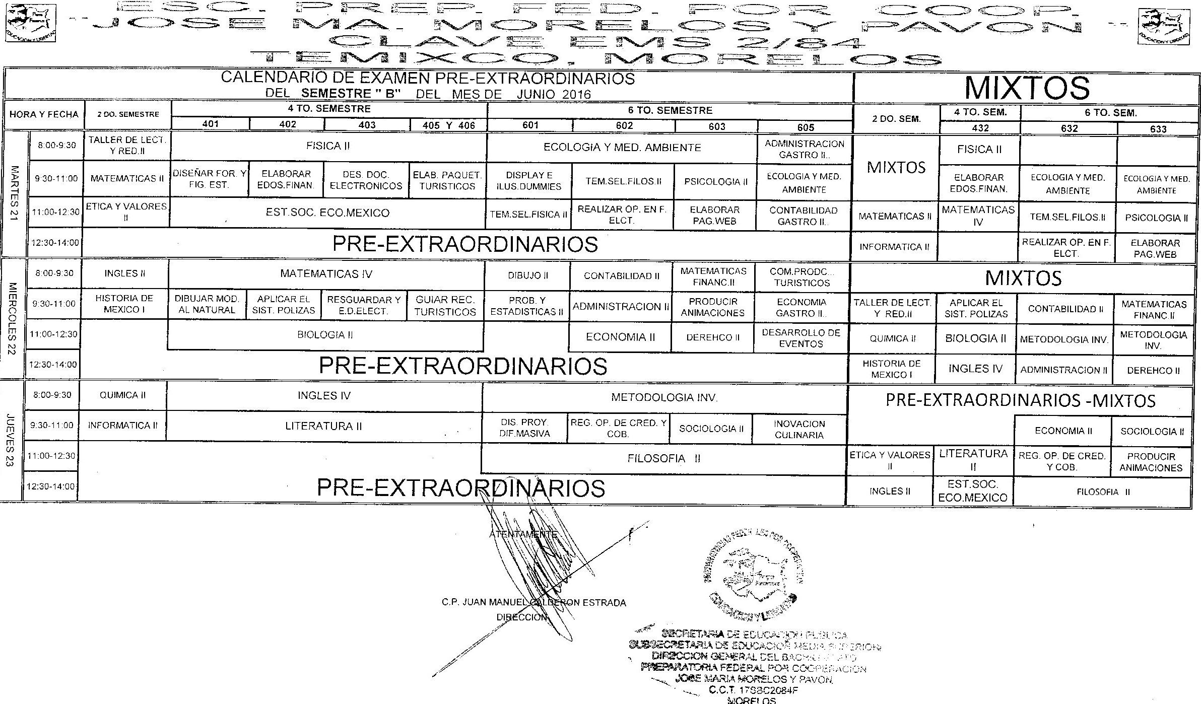 CALENDARIO EXÁMENES SEMESTRALES CICLO ESCOLAR 2014-2015