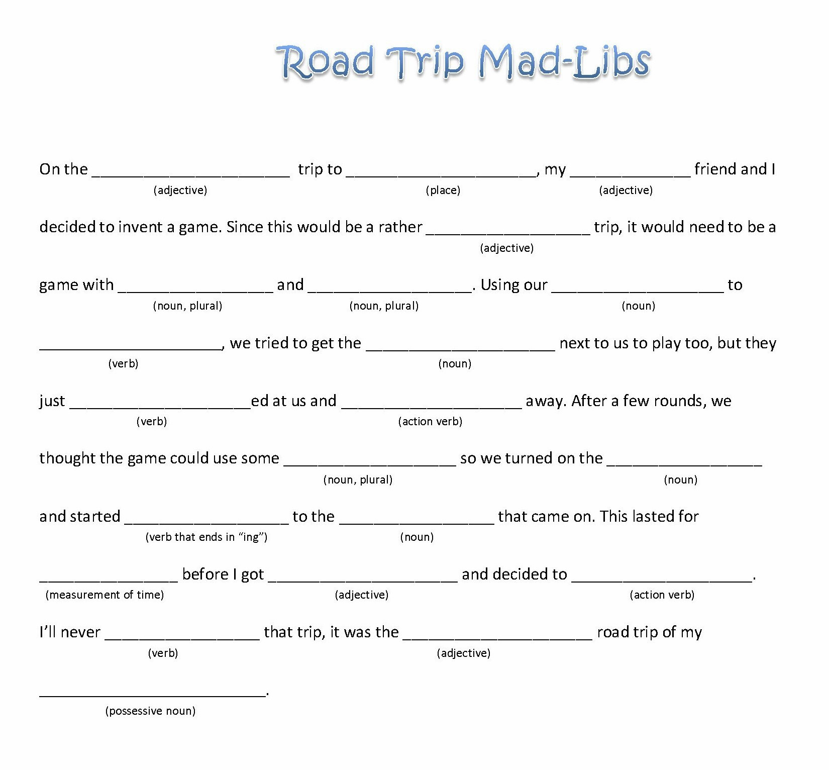 Epic Road Trip Mad Libs