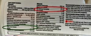 prenatal vitamin, iron, folic acid