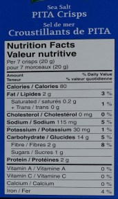 Nutritional Facts label of Pita crisps