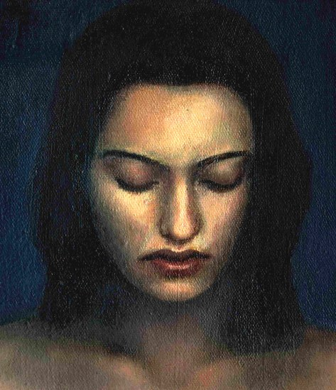 Oil painting of a woman's face with eyes closed