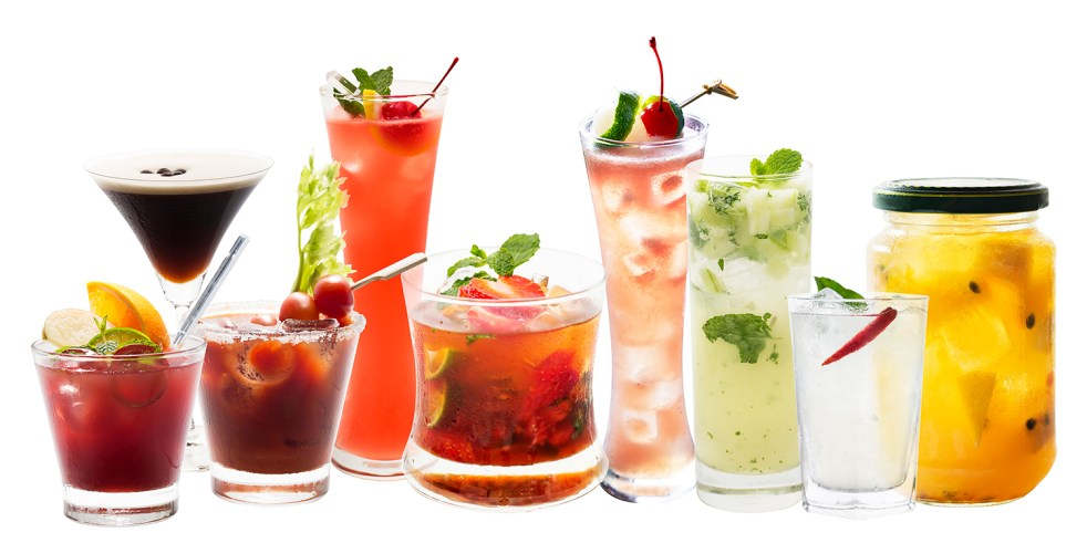 Variety of Punch and mocktail drink