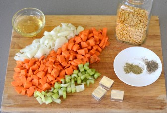 All ingredients chopped and displayed on wooden cutting board