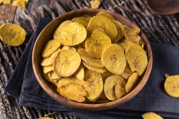 Healthy Homemade Plantain Chips in a wooden bowl
