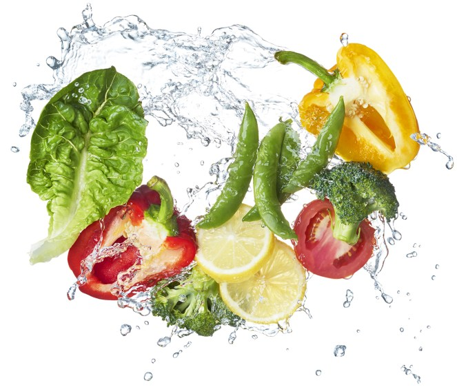various type of vegetables and fruits with water splash