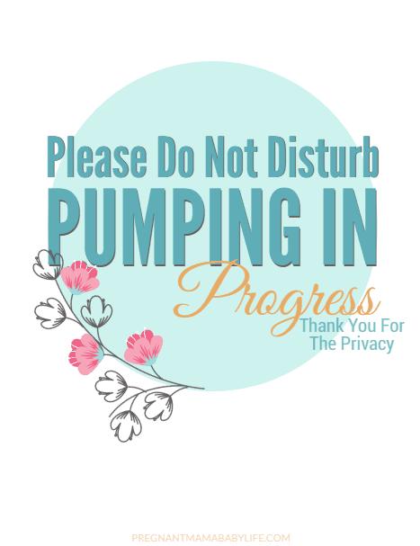 Pumping in progress door sign