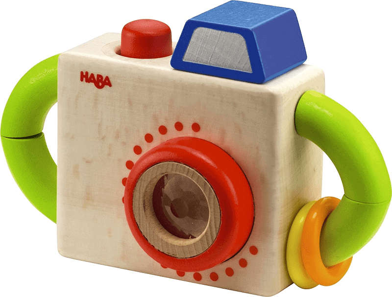 Non toxic wooden baby toy. Cute little camera toy for baby. Baby safe and eco friendly.