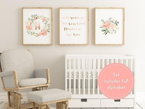 Floral printable baby initials set. Printable art work decor for nursery.