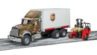 MACK Granite UPS Logistik-LKW mit Mitnahmestapler