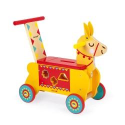 Laufrad Lama zum Schieben mit Sortierspiel (Holz)