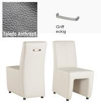 Designer Stuhl - Puck Leder Toledo anthrazit mit Griff eckig von Kasper Wohndesign