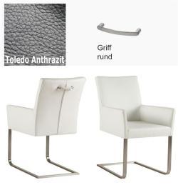Freischinger - Agio  Leder Toledo anthrazit mit Griff rund von Kasper Wohndesign