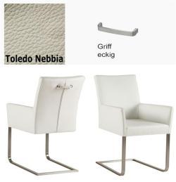 Freischinger - Agio  Leder Toledo grau mit Griff eckig von Kasper Wohndesign