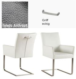 Freischinger - Agio  Leder Toledo anthrazit mit Griff eckig von Kasper Wohndesign