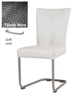 Freischwinger - Polly Leder Toledo schwarz mit Griff rund von Kasper Wohndesign