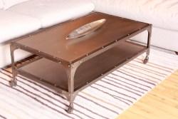 Couchtisch RIKA Beistelltisch rollbar Metall grau 134x43x71cm