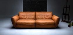 KAWOLA Sofa Davito 4-Sitzer Megasofa Leder Pallino Cognac 280x108x88cm (B/T/H)