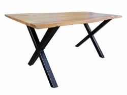 Esstisch 160x85cm massiv nussbaumfarbig mit Baumkante Kreuzfuß schwarz
