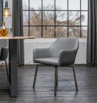6er Set Stuhl Loui Sessel Kunstleder Esszimmerstuhl grau