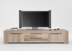 KAWOLA TV-Board MEMORIA 2 Schubladen Massivholz Eiche white wash 228x50x47cm (B/T/H)