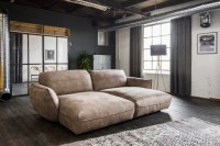 KAWOLA Sofa Davito Big Sofa Longchair Stoff braun 280x88x180cm (B/H/T)