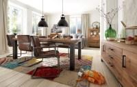 KAWOLA Essgruppe SAZAR mit 6 Echtlederstühlen und Esstisch NELA 220x110x76cm (L/B/H)