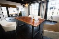 KAWOLA Essgruppe 7-teilig mit Esstisch Baumkante nussbaumfarben Fuß silber 180x90 und 6x Stuhl Cali Stoff creme