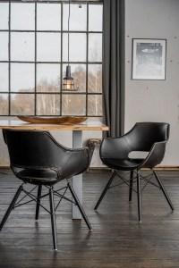 KAWOLA Essgruppe 5-Teilig mit Esstisch Baumkante Fuß silber 160x85cm und 4x Stuhl ZAJA Kunstleder schwarz