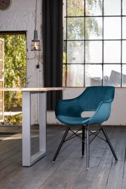 KAWOLA Essgruppe 5-Teilig mit Esstisch Baumkante nussbaumfarben Fuß silber 160x85cm und 4x Stuhl ZAJA Velvet petrol