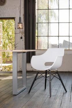KAWOLA Essgruppe 5-Teilig mit Esstisch Baumkante Fuß silber 140x85cm und 4x Stuhl ZAJA Kunststoff weiß
