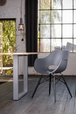 KAWOLA Essgruppe 5-Teilig mit Esstisch Baumkante nussbaumfarben Fuß silber 160x85cm und 4x Stuhl ZAJA Kunststoff anthrazit