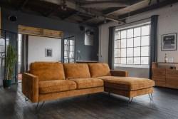 KAWOLA Ecksofa ELINA Sofa Recamiere rechts Velvet cognac (B/T):242x176cm