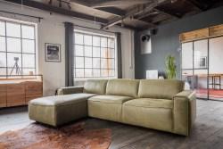 KAWOLA Ecksofa EXTRA Sofa Leder olivgrün Recamiere links groß mit manueller Sitztiefenverstellung