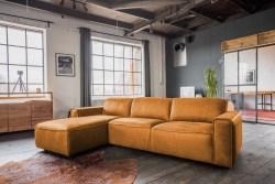 KAWOLA Ecksofa EXTRA Sofa Leder cognac Recamiere links groß mit manueller Sitztiefenverstellung